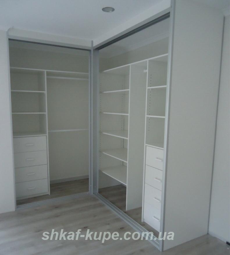 белый шкаф купе без дверей на заказ