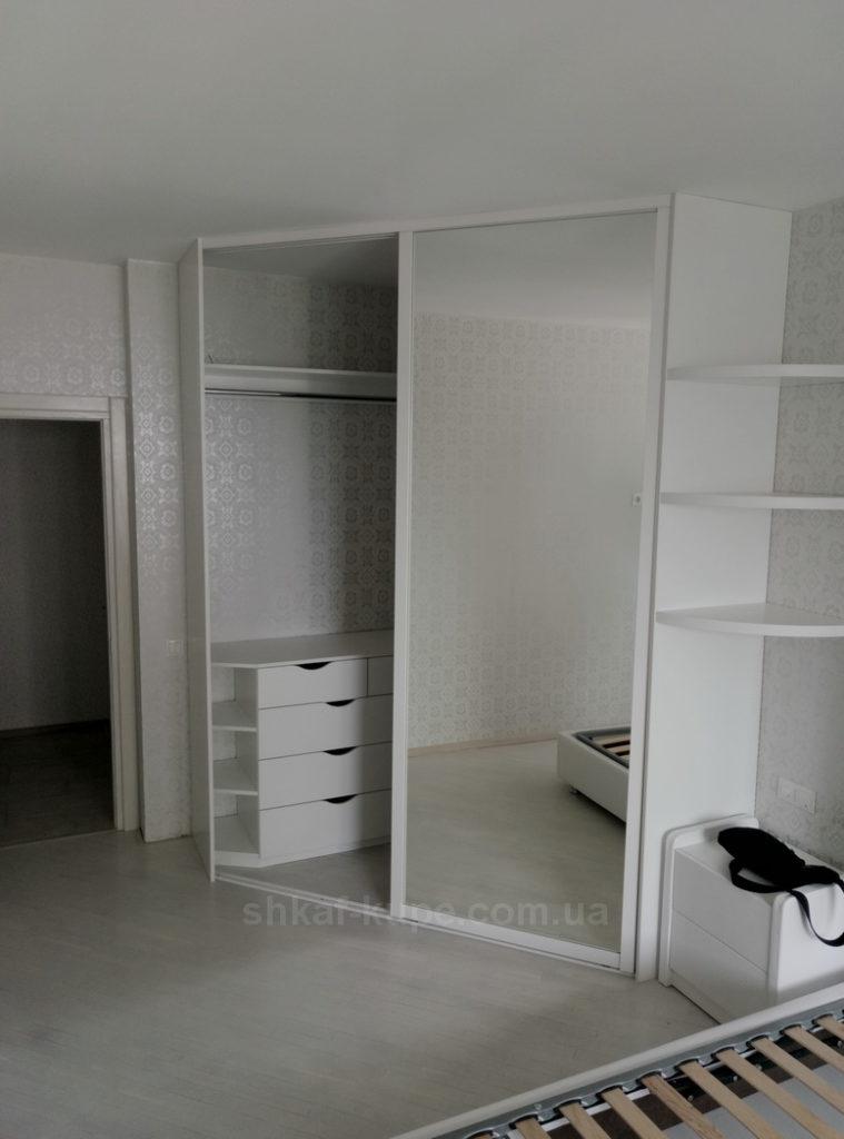 белый угловой авторский шкаф на заказ Чернигов