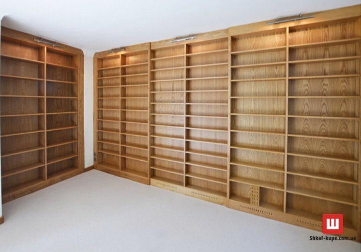 стеллаж деревянный в библиотеку на заказ